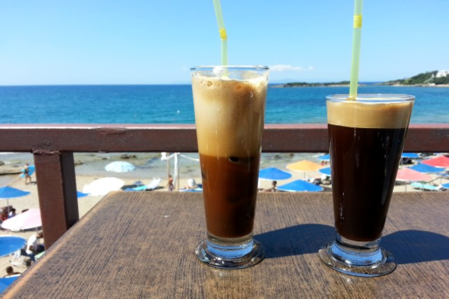 frappe on the beach in the Peloponnese