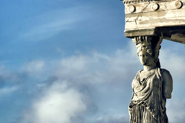 the Caryatid statues at the Acropolis