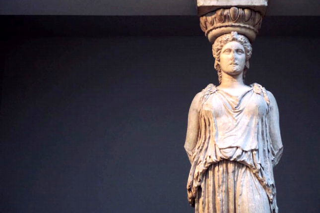 the Caryatid statue at the British museum